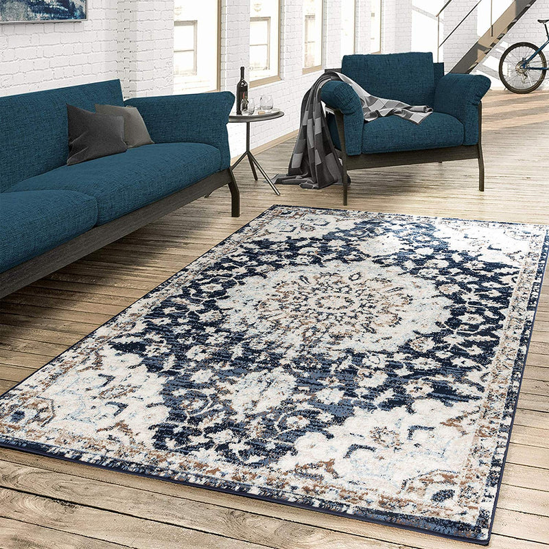 5057 Navy Blue Medallion Distressed Oriental Area Rugs