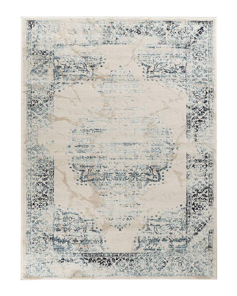 5018 Blue Medallion Distressed Oriental Area Rugs