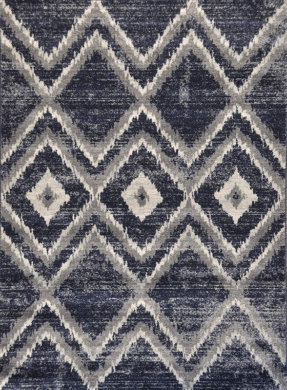 5034 Navy Blue Distressed Contemporary Area Rugs