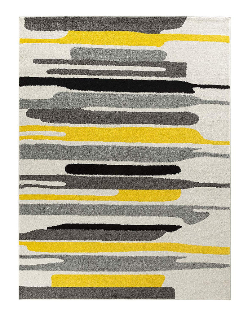 5021 Yellow Gray Abstract Contemporary Area Rugs
