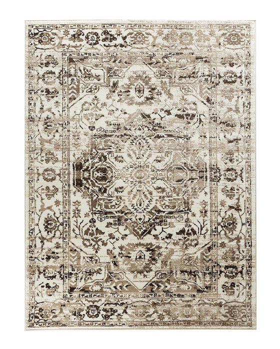 5039 Brown Ivory Medallion Distressed Oriental Area Rugs