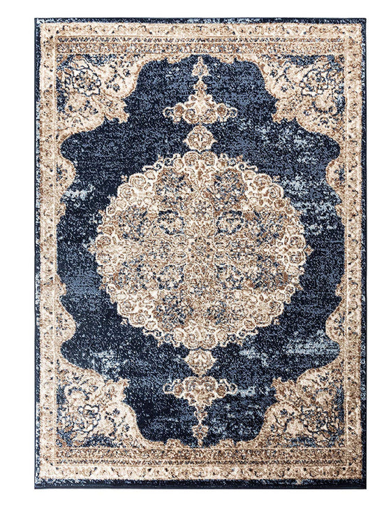 5035 Navy Blue Medallion Distressed Oriental Area Rugs