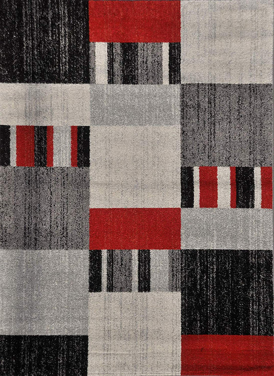 5053 Red Gray Square Contemporary Area Rugs