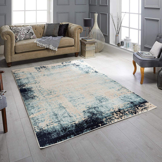 5031 Blue Ivory Distressed Contemporary Area Rugs