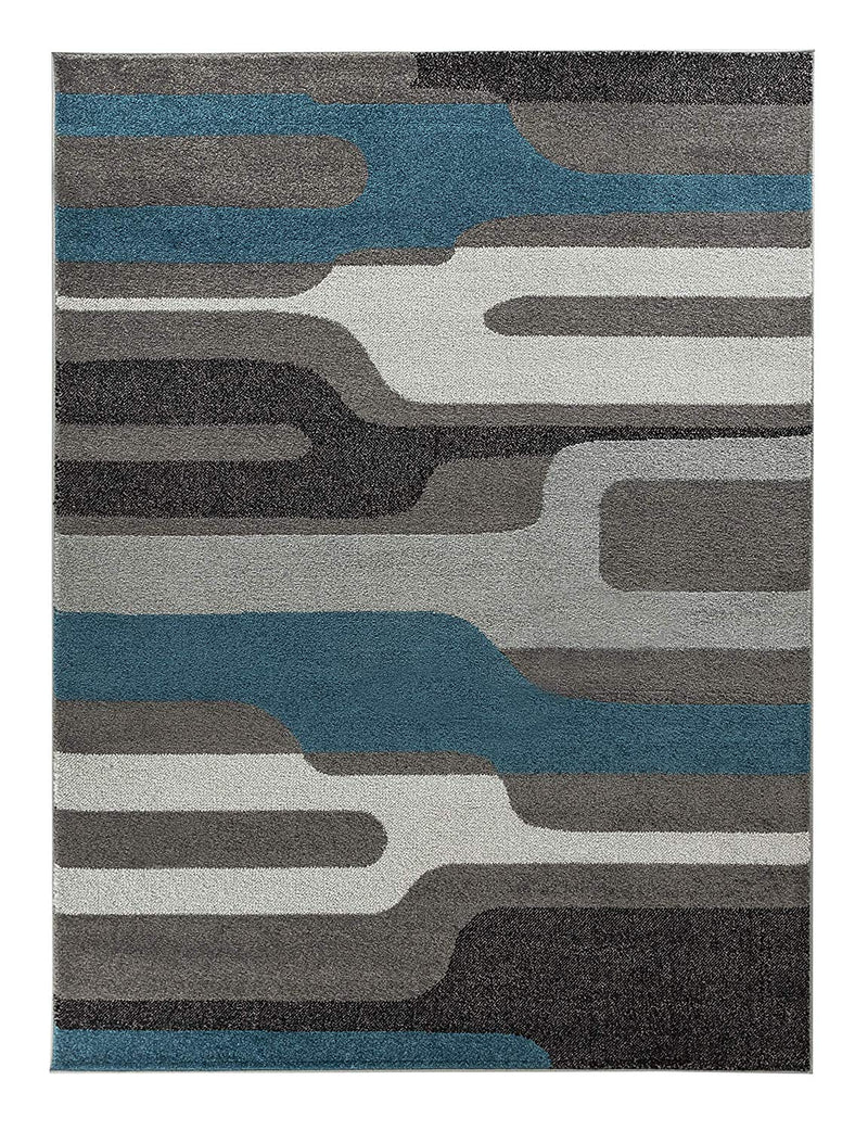 5036 Blue Gray Abstract Contemporary Area Rugs