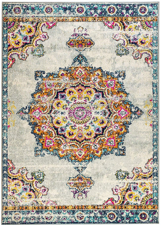 4633 Multi-Color Bohemian Distressed Medallion Vintage Area Rugs