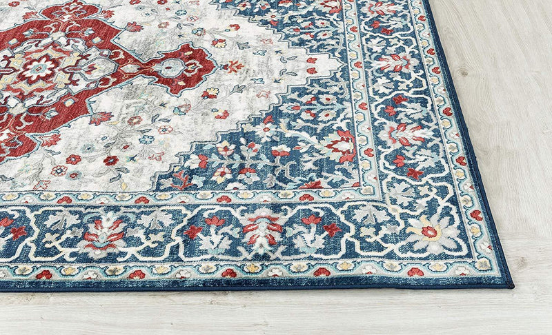 4640 Blue Medallion Distressed Oriental Area Rugs