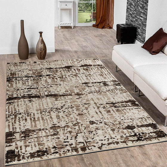 5031 Brown Beige Distressed Contemporary Area Rugs