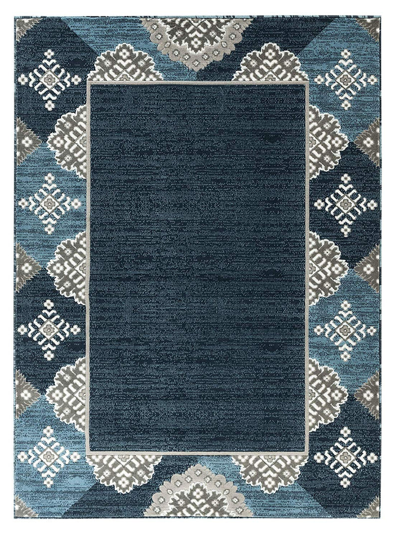 5055 Blue Abstract Contemporary Area Rugs