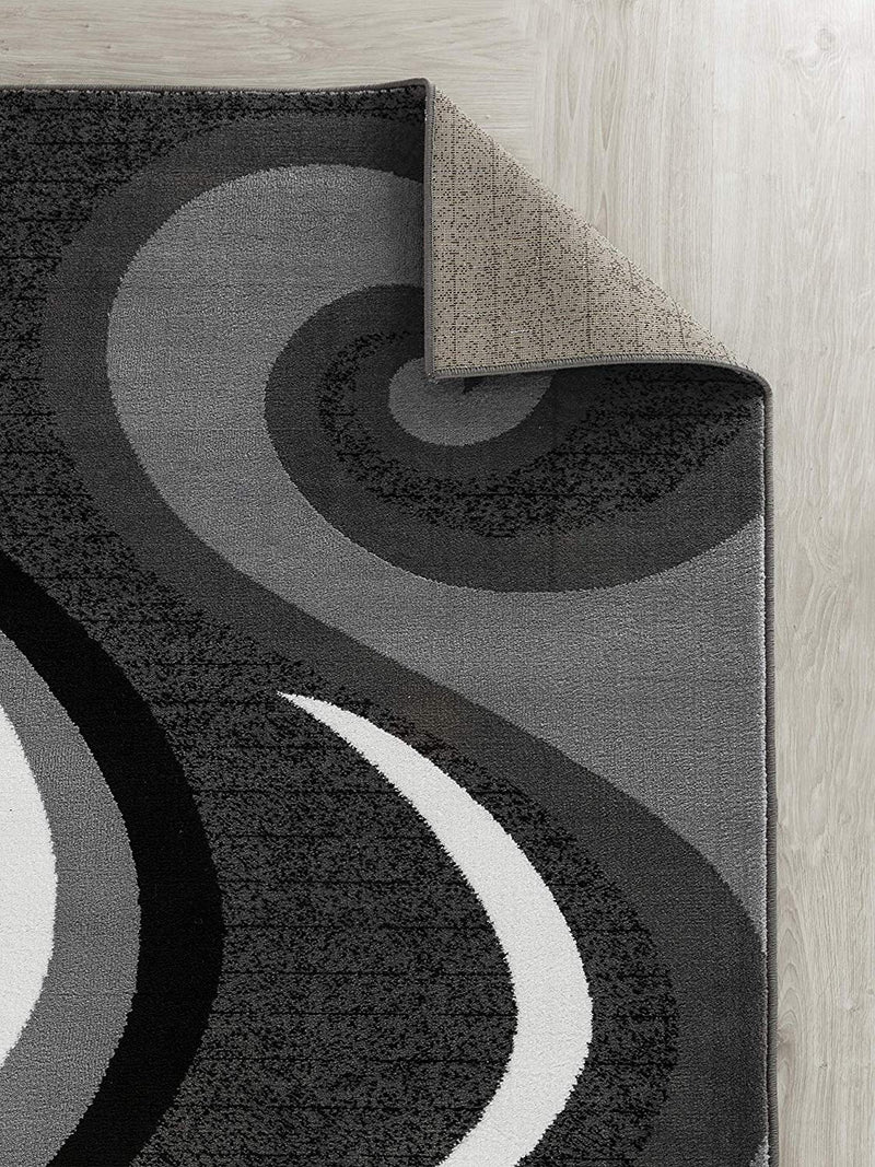 5045 Gray Abstract Contemporary Area Rugs