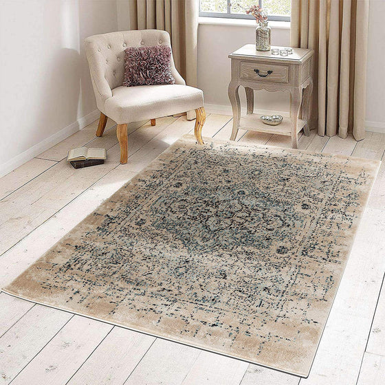 5037 Ivory Blue Medallion Distressed Oriental Area Rugs