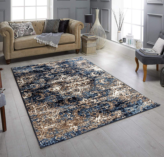 5059 Blue Farmhouse Distressed Oriental Area Rugs