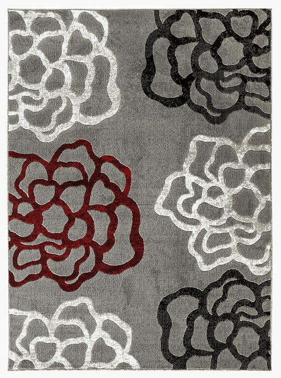 2101 Gray Red Abstract Contemporary Area Rugs
