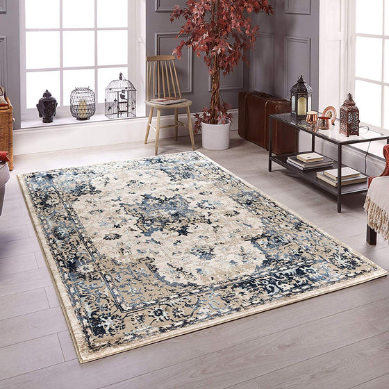 5058 Ivory Blue Farmhouse Distressed Oriental Area Rugs