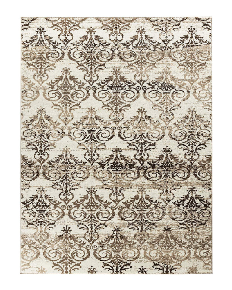 5017 Brown Panels Distressed Contemporary Area Rugs