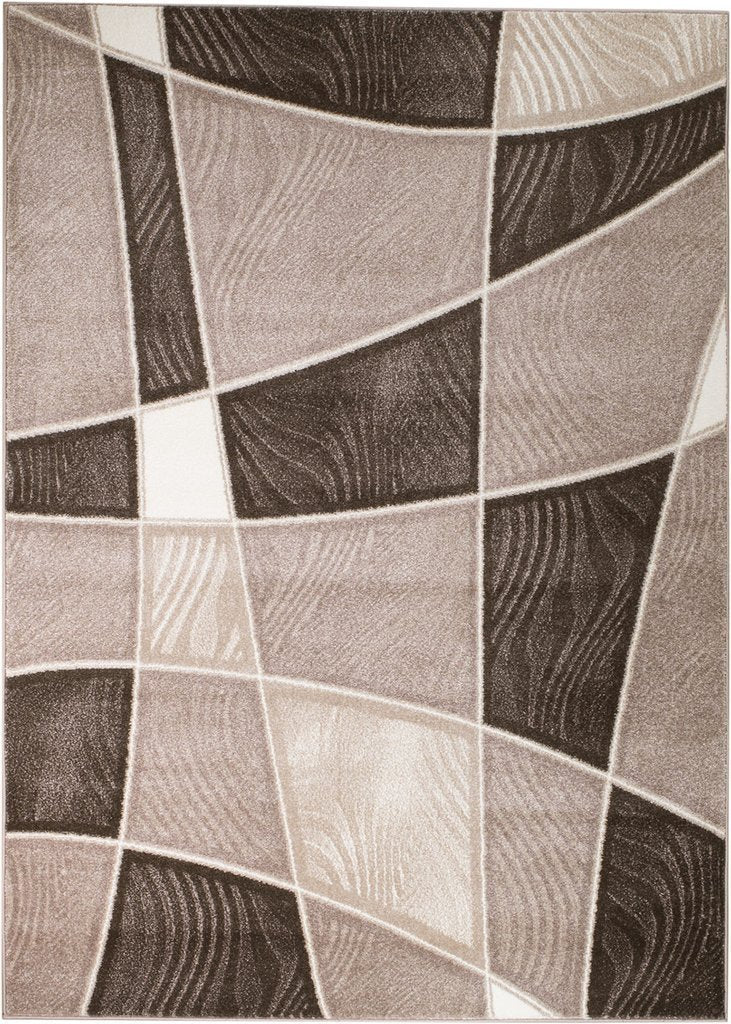 2080 Brown Beige Abstract Contemporary Area Rugs
