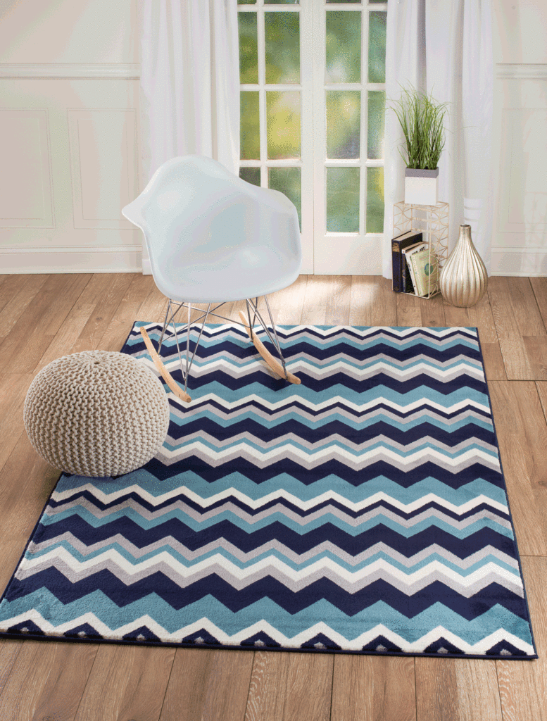 2050 Blue Gray Stripes Design Contemporary Area Rugs