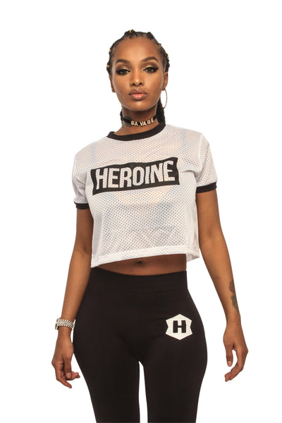 White Heroine Mesh Crop Top