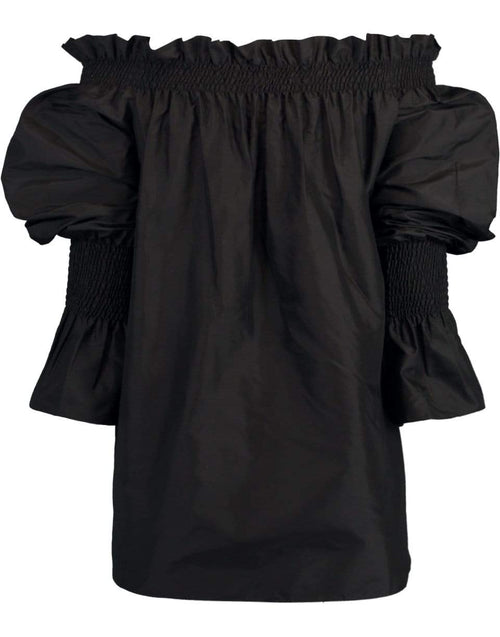 ADAM LIPPES CLOTHINGTOPMISC Black Tafetta Off-The-Shoulder Top