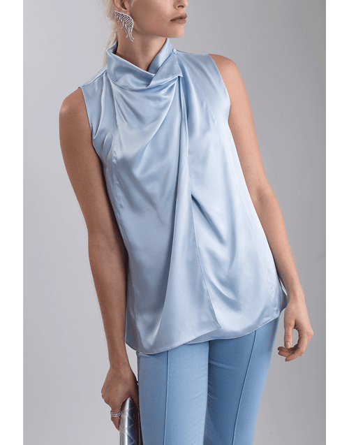 ADAM LIPPES CLOTHINGTOPTANK Silk Cowl Neck Blouse
