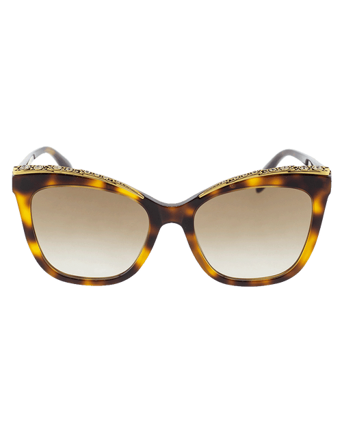 ALEXANDER MCQUEEN ACCESSORIESUNGLASSES BROWN Cat-Eye Jeweled Frame Sunglasses