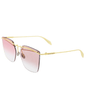 ALEXANDER MCQUEEN ACCESSORIESUNGLASSES GLD/RED Tinted Rimless Bar Sunglasses