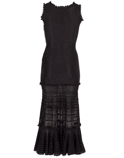 ALEXANDER MCQUEEN CLOTHINGDRESSCASUAL BLACK / XS Laddered Knit Midi Dress