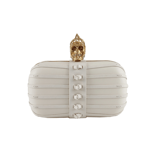 ALEXANDER MCQUEEN HANDBAGSHOULDER BONE Skull Clutch with Whip Stitch