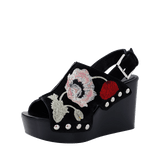 ALEXANDER MCQUEEN SHOEMISC Embroidered Suede Clog Wedge