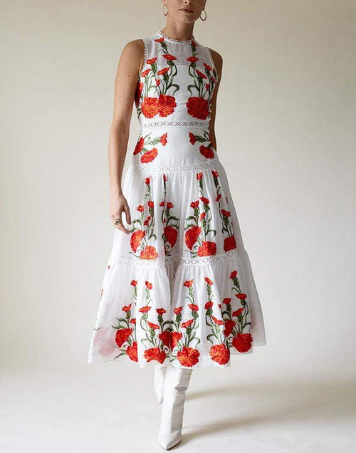 ALEXIS CLOTHINGDRESSCASUAL WHITE / M Blossom Embroidered Leomie Dress