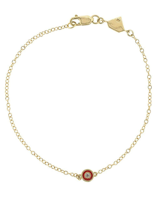 ALISON LOU JEWELRYFINE JEWELBRACELET O YLWGOLD Red Enamel and Diamond Bracelet
