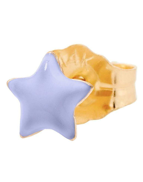 ALISON LOU JEWELRYFINE JEWELEARRING YLWGOLD Single Tiny Violet Enamel Star Stud