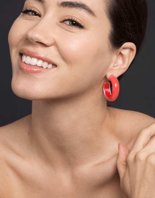 ALISON LOU JEWELRYFINE JEWELEARRING YLWGOLD Small Coral LOUcite Jelly Hoops