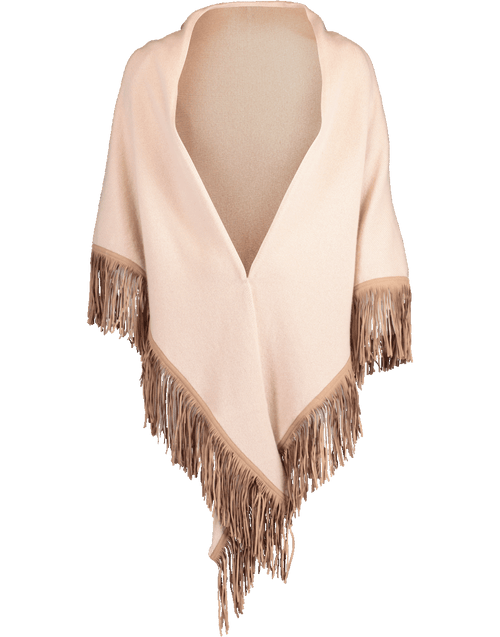 ALLUDE ACCESSORIESCARVES CAMEL Fringe Triangle Scarf