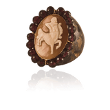 AMEDEO JEWELRYBOUTIQUERING BRONZE Carnelian Cameo Horizontal Ring