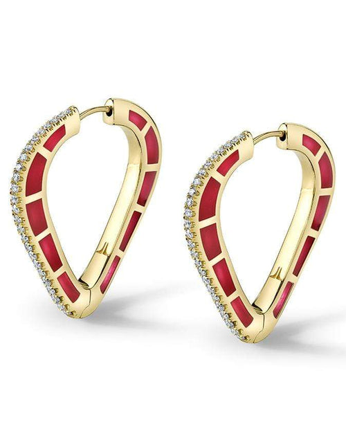 ANDY LIF JEWELRYFINE JEWELEARRING YLWGOLD Red Enamel and Diamond Hoops