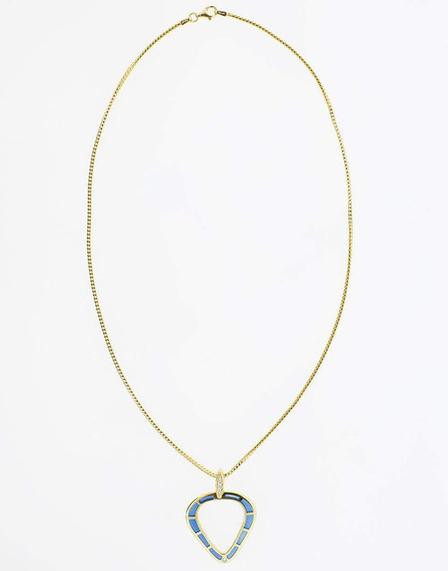 ANDY LIF JEWELRYFINE JEWELNECKLACE O YLWGOLD Blue Enamel and Diamond Necklace