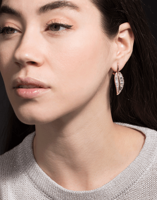 ANITA KO JEWELRYFINE JEWELEARRING ROSEGOLD Large Diamond Palm Leaf Drop Earrings