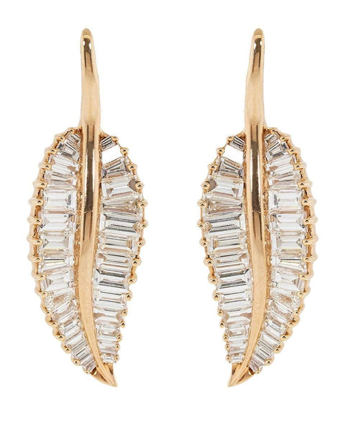 ANITA KO JEWELRYFINE JEWELEARRING ROSEGOLD Large Palm Leaf Diamond Drop Earrings