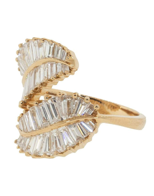 ANITA KO JEWELRYFINE JEWELRING ROSEGOLD / 7 Palm Leaf Ring with Baguette Diamonds