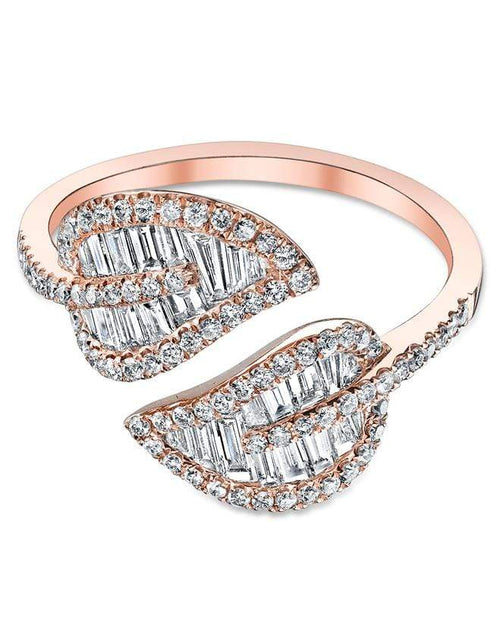 ANITA KO JEWELRYFINE JEWELRING ROSEGOLD / 7 Small Diamond Leaf Ring