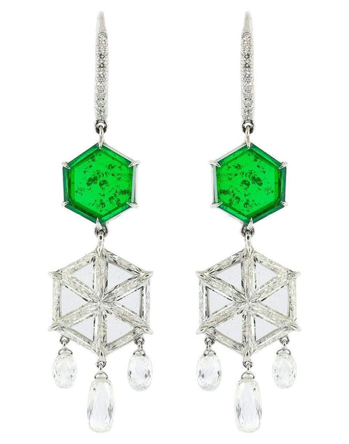 ARUNASHI JEWELRYFINE JEWELEARRING WHTGOLD Hexagon Emerald and Diamond Earrings