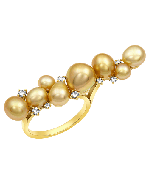 BAGGINS JEWELRYFINE JEWELRING YLWGOLD / 6.25 Golden Pearl and Diamond Cluster Bar Ring