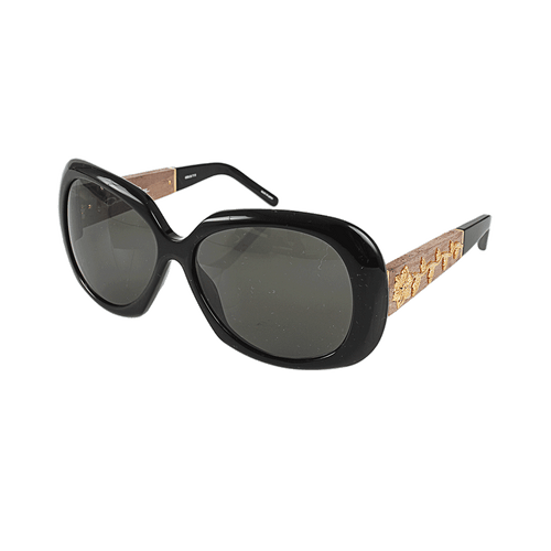 BALLY SUNGLASS & OPTICAL ACCESSORIESUNGLASSES BLACK Wood and Gold Inlay Sunglasses