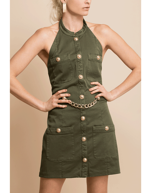 BALMAIN CLOTHINGDRESSCASUAL Halterneck Military Dress