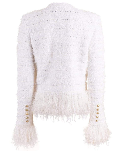 BALMAIN CLOTHINGJACKETMISC Blanc Collarless Fringe Tweed Jacket