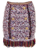 BALMAIN CLOTHINGSKIRTMISC Button Front Fringe Tweed Skirt
