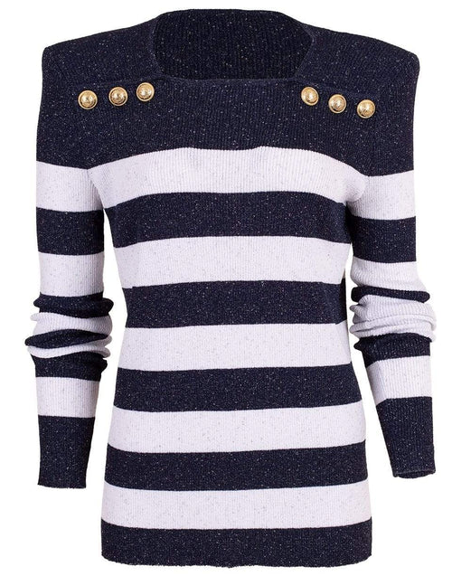 BALMAIN CLOTHINGTOPSWEATER Striped Knit Sweater
