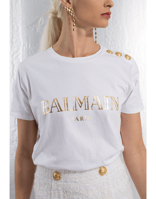 BALMAIN CLOTHINGTOPT-SHIRT Button Shoulder Logo T-Shirt