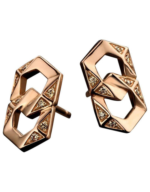 Bond Signature Pink Gold Brown Diamond Stud Earrings Marissa Collections